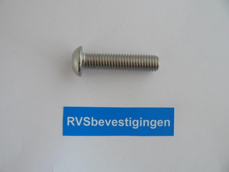 Laagbolkop binnenzeskantbout ISO7380 ULS RVS A2 M6x12mm 100 stuks