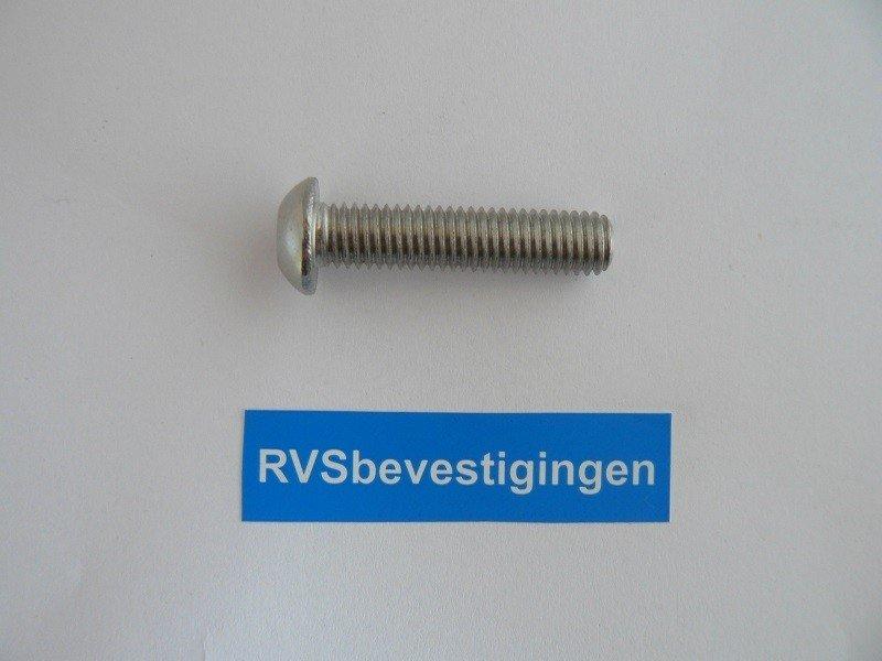 Laagbolkop binnenzeskantbout ISO7380 ULS RVS A4 M5x50mm 10 stuks
