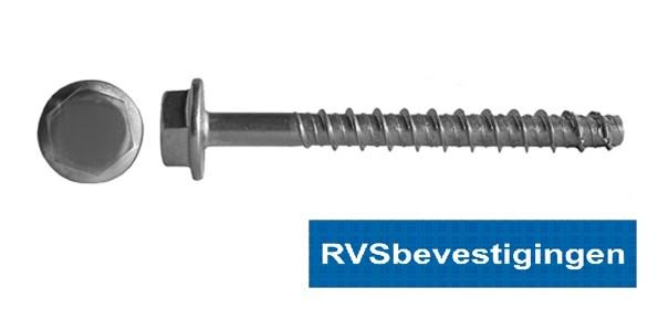 Betonschroef met zeskant flenskop 10x80mm RVS A4 10 stuks