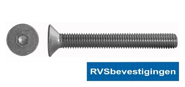 Binnenzeskantbout Din7991 RVS A2 M10x55mm 50 stuks