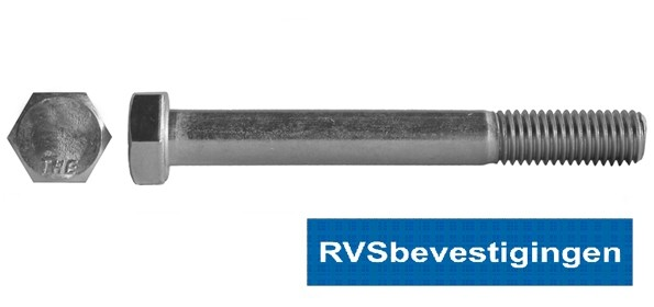 Zeskantbout Din931 RVS A2 M12x80mm 25 stuks