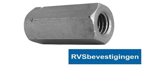 Verbindingsmoer Din6334 M12x36mm RVS A2 5 stuks
