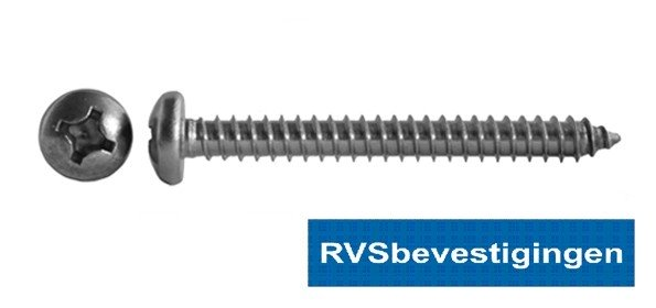 Plaatschroef Din7981 CK PH RVS A2 4,8x16mm 200 stuks