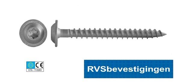 Houtconstructieschroeven RVS TORX (TX) met discuskop 8,0x30mm 100 stuks