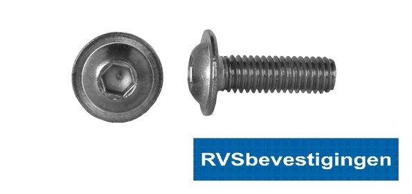 Laagbolkop binnenzeskantbout ISO7380 ULF RVS A2 M5x10mm 100 stuks