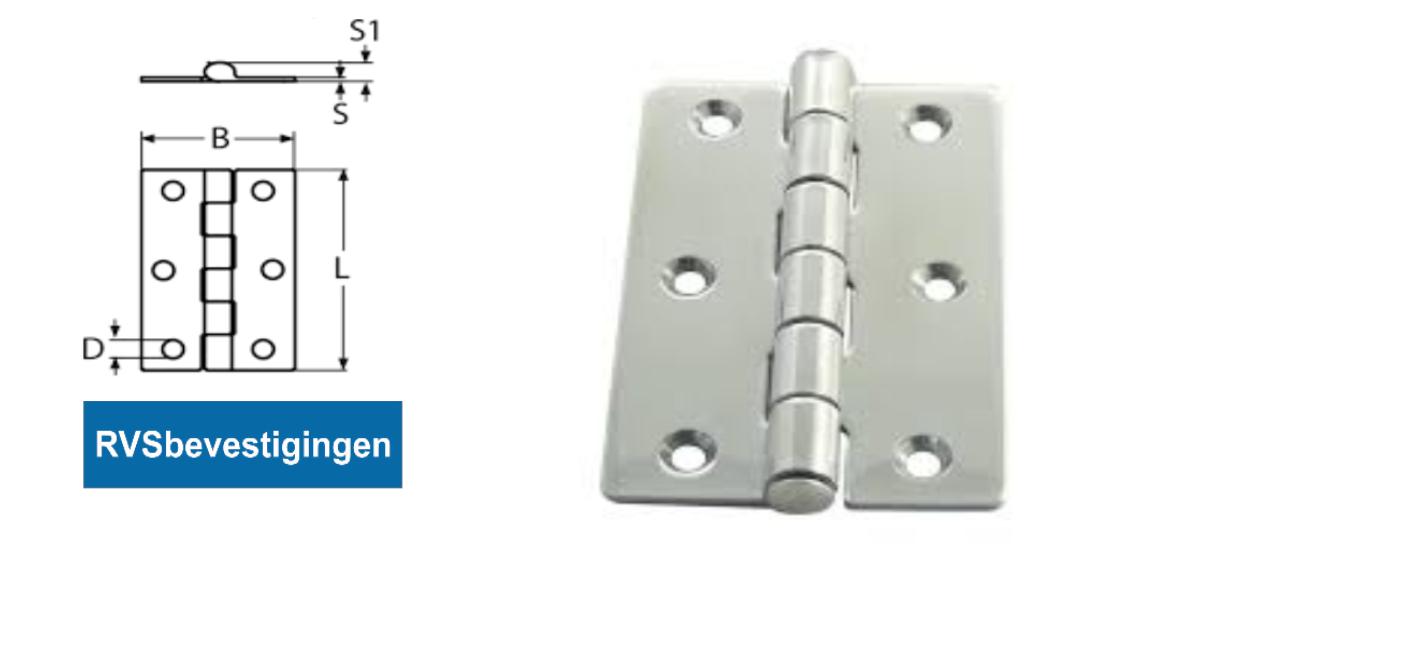 Scharnier gestanst recht 78x50x8x1,7mm RVS A2 1 stuks