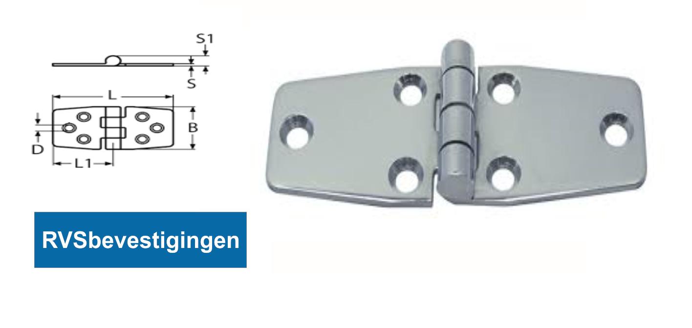 Scharnier gestanst taps 97x48,5x38x2x9mm RVS A2 1 stuks