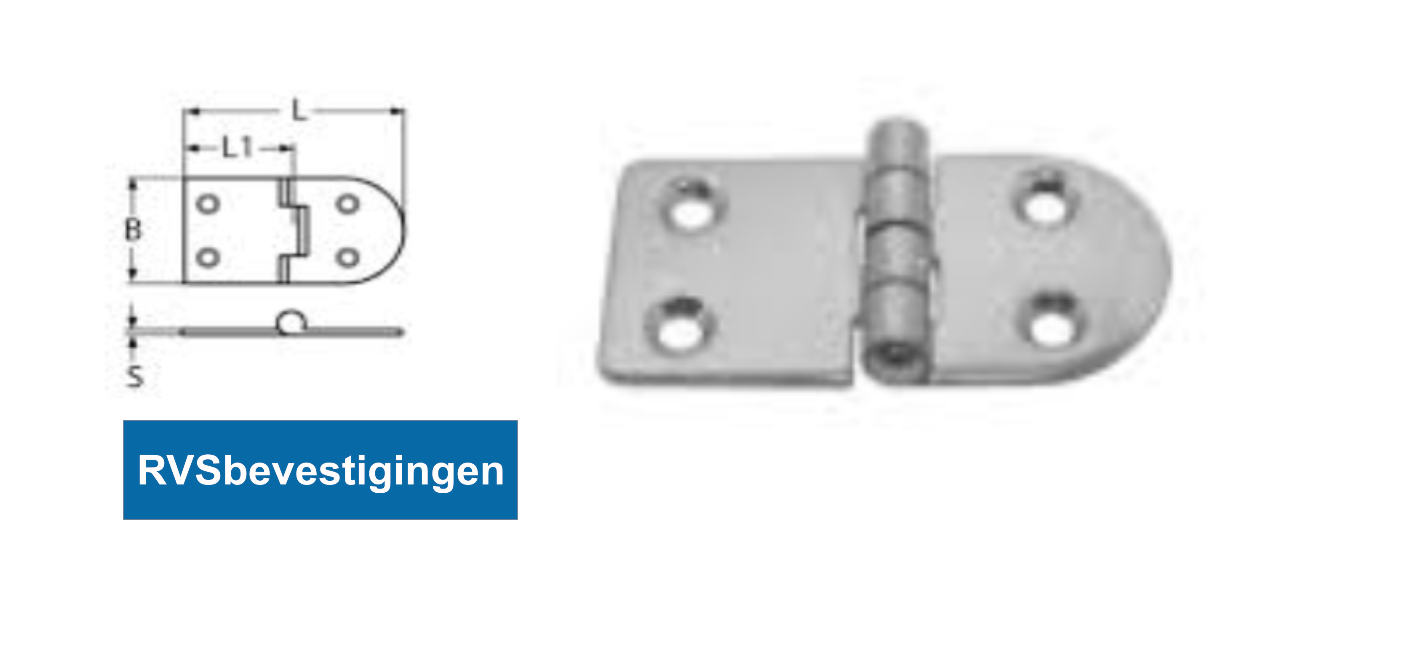 Scharnier gestanst vierkant rond 70x35x38x2mm RVS A2 1 stuks