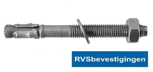 Doorsteekanker M10x155/75mm RVS A4 1 stuks