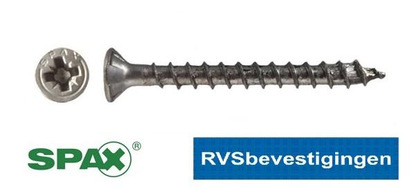 SPAX spaanplaatschroeven RVS Pozidrive (PZ) platkop 4,0x25mm 200 stuks