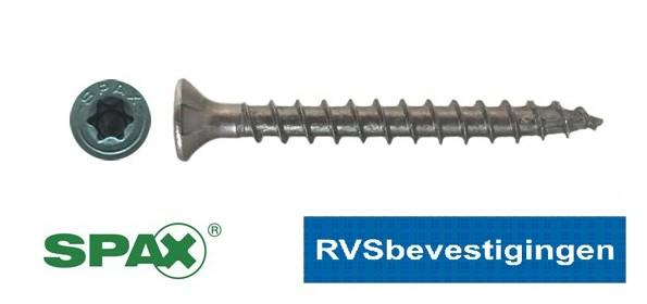 SPAX spaanplaatschroeven RVS TORX (TX) platkop 3,5x20mm 200 stuks