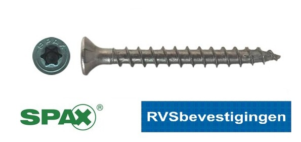 SPAX spaanplaatschroeven RVS TORX (TX) platkop 4,5x40mm 200 stuks