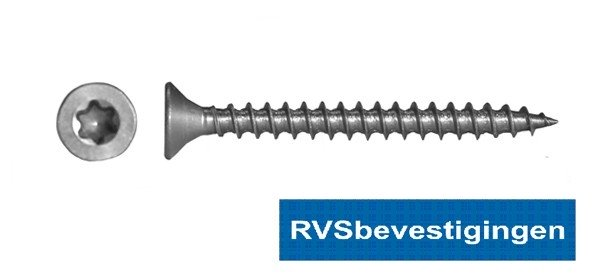 Spaanplaatschroeven RVS TORX (TX) platkop 3,5x16mm 500 stuks