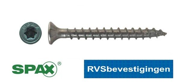 SPAX spaanplaatschroeven RVS TORX (TX) platkop 4,5x30mm 200 stuks