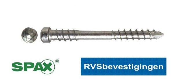 SPAX Vlonderschroeven RVS TORX (TX) cilinderkop 5,0x80m 100 stuks