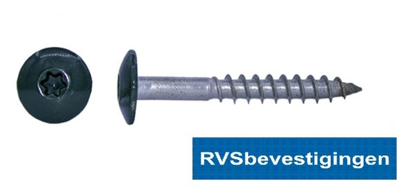 Kleurkop-schroeven voor Trespa®/HPL platen 4,8x38mm RAL6009 dennengroen RVS A2 TX-20 100 stuks