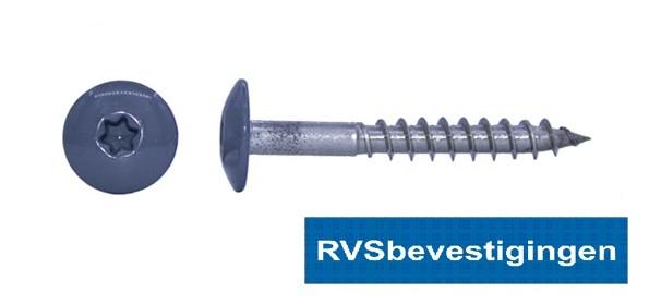 Kleurkop-schroeven voor Trespa®/HPL platen 4,8x25mm RAL7012 basaltgrijs RVS A2 TX-20 100 stuks