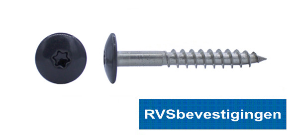 Kleurkop-schroeven voor Trespa®/HPL platen 4,8x38mm RAL7021 zwartgrijs RVS A2 TX-20 100 stuks
