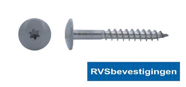 Kleurkop-schroeven voor Trespa®/HPL platen 4,8x38mm RAL7030 steengrijs RVS A2 TX-20 100 stuks