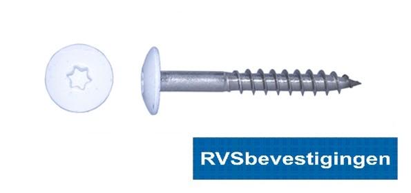 Kleurkop-schroeven voor Trespa®/HPL platen 4,8x60mm RAL9010 zuiverwit RVS A2 TX-20 100 stuks