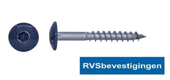 Kleurkop-schroeven voor Trespa®/HPL platen 4,8x25mm RAL7016 antraciettgrijs RVS A2 TX-20 100 stuks