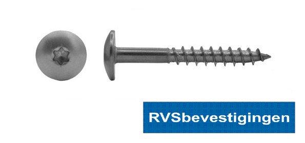 Kleurkop-schroeven voor Trespa®/HPL platen 4,8x70mm Blank RVS A2 TX-20 100 stuks
