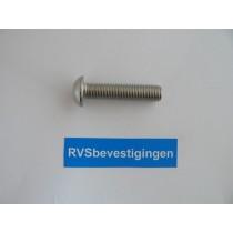Laagbolkop binnenzeskantbout ISO7380 ULS RVS A4 M6x16mm 10 stuks